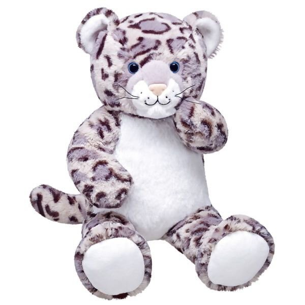 The endangered snow leopard lives in alpine zones with high elevations. The plush snow leopard furry friend has a white belly with spotted fur, perfect for cuddling and adding outfits to make this plush snow leopard truly unique.