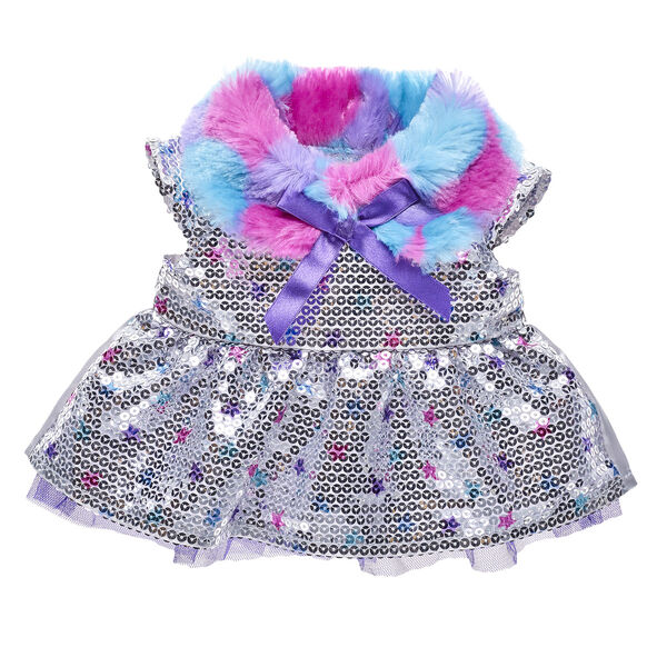 Your furry friend can go totally glam with this shiny dress! This silver sequin dress has colourful stars printed on it, and the collar has a fashionable trim of purple, pink and blue faux fur. FURbulous!