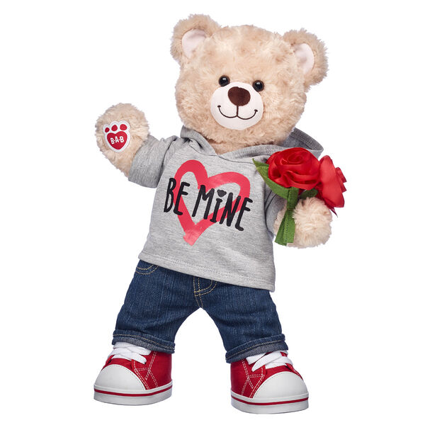 teddy bear valentines day gift bundle with be mine hoodie and plush bouquet