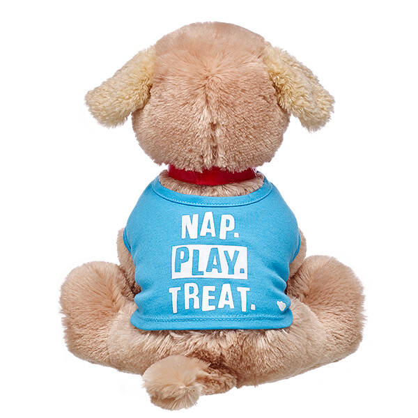 """Let your Promise Pet's T-shirt do all the talking! With """"Nap. Play. Treat."""" in white lettering on the front, the cute graphic on this light blue tee is a playful description of what pets do best! No matter what type of fun your furry friend is having, this T-shirt is an adorable addition to any Promise Pet's wardrobe."""
