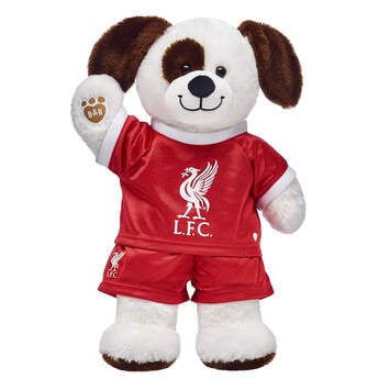 Goal! This cuddly stuffed animal gift set is a fun way to score with the football fan in your life! Ruff n' Tumble Puppy is ready to play on the pitch with its Liverpool football kit. It's a great gift for sports fans!