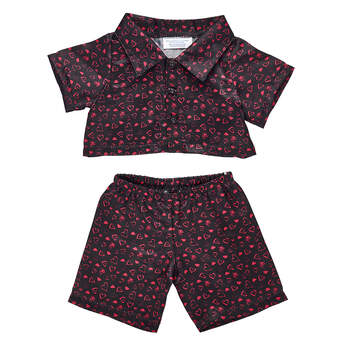Online Exclusive Black Heart Satin Pyjamas - Build-A-Bear Workshop®
