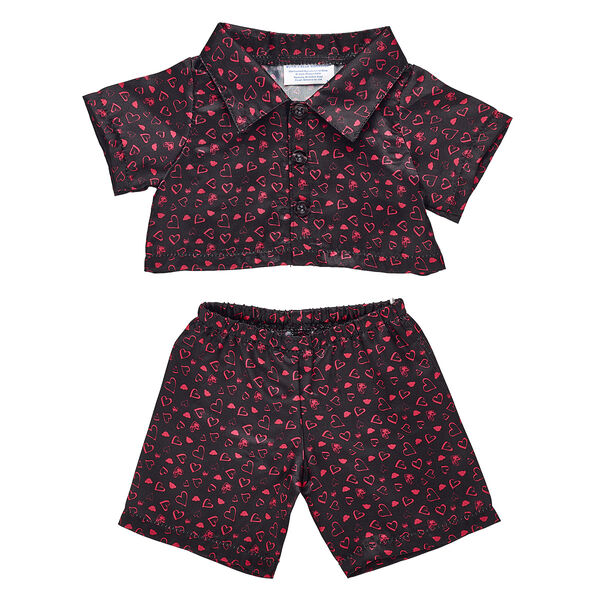 Online Exclusive Black Heart Satin Pyjamas, , hi-res