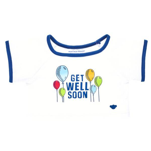 "When someone you love is in need of some big bear hugs, this sweet T-shirt is the perfect choice. This white and blue tee features a ""Get Well Soon"" message surrounded by colourful balloons. Send good thoughts someone's way by outfitting any furry friend in this cute T-shirt to make the perfect gift!"