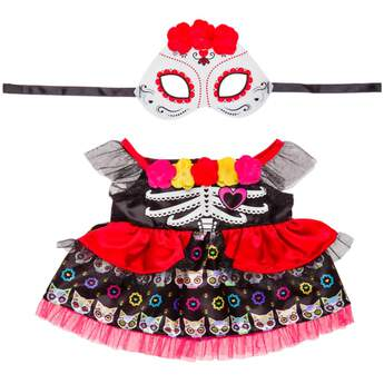 The colourful Mexican holiday of remembrance gets an outfit of its own for your furry friend! This fanciful costume features a black dress with flowers, red ruffle and a cat pattern, and a Day of the Dead mask.