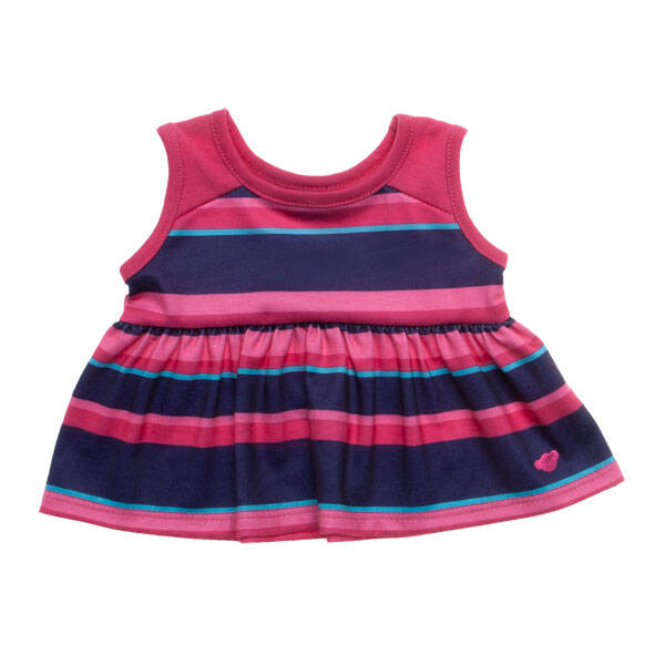 This teddy bear size Fuchsia & Purple Stripe Dress is a great look for any furry friend. This sleeveless dress has fuchsia, purple, pink, and turquoise stripes. It's the perfect look for playing together!