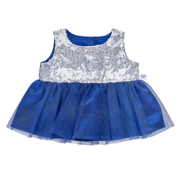 This gorgeous winter dress takes fashion to the next level! This sparkly blue dress has silver sequins on the sleeveless top.