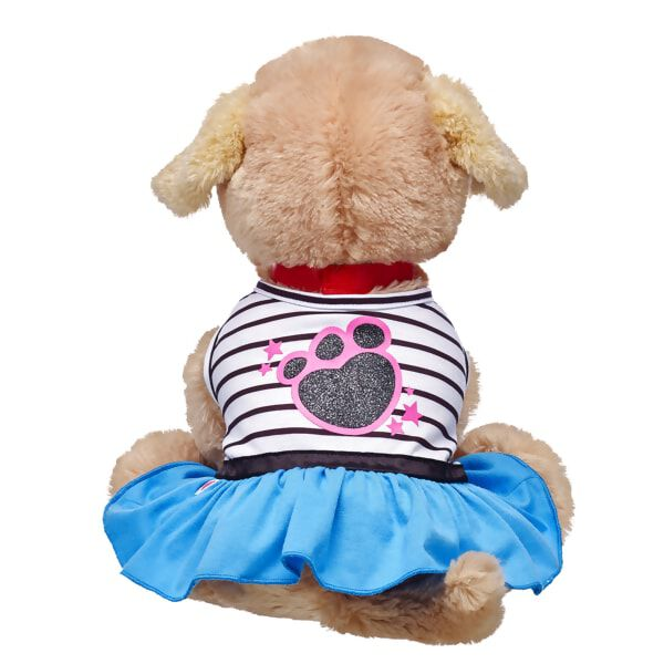 Your Promise Pet will be perfectly dressed up for playtime in this frisky striped dress! This dress features a turquoise blue bottom with a black and white striped top. A sparkly black and pink paw print graphic on the back of the dress is the perfect finishing touch.
