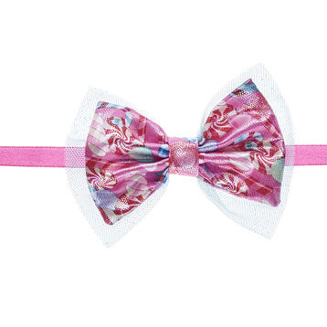 Give your furry friend a sweet hair accessory with this candy bow headband! This pink bow headband features a cute pattern of colourful peppermints and candy canes.