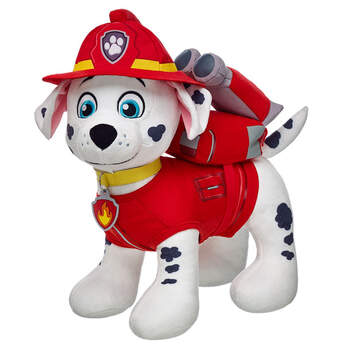 Gear up Marshall for a PAW Patrol rescue with his Pup Pack. This red backpack has a flame graphic on it, and Marshall takes it on every ruff-ruff rescue.  2015 Spin Master PAW Productions Inc. All Rights Reserved. PAW Patrol and all related titles, logos and characters are trademarks of Spin Master Ltd. Nickelodeon and all related titles and logos are trademarks of Viacom International Inc.