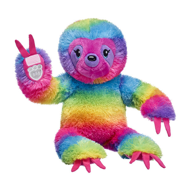 striped rainbow sloth stuffed animal sitting