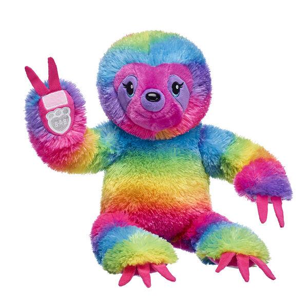 striped rainbow sloth stuffed animal sitting