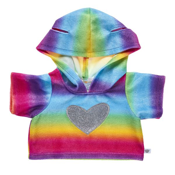 Send bear hugs in every colour of the rainbow! This adorable rainbow hoodie has a sparkly heart on the center and even features holes in the hood for your furry friend's ears!