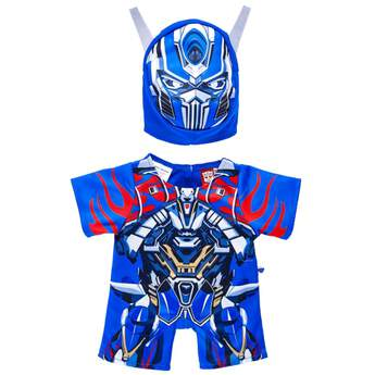 Transform any furry friend into a leader as skilled as Optimus Prime with this two-piece Transformers costume! This costume features a blue and red body suit and matching mask with openings for your furry friend's ears. Get ready to lead the Autobots and complete your Transformers collection today! © 2017 Hasbro. All Rights Reserved ©2017 Paramount Pictures Corporation.
