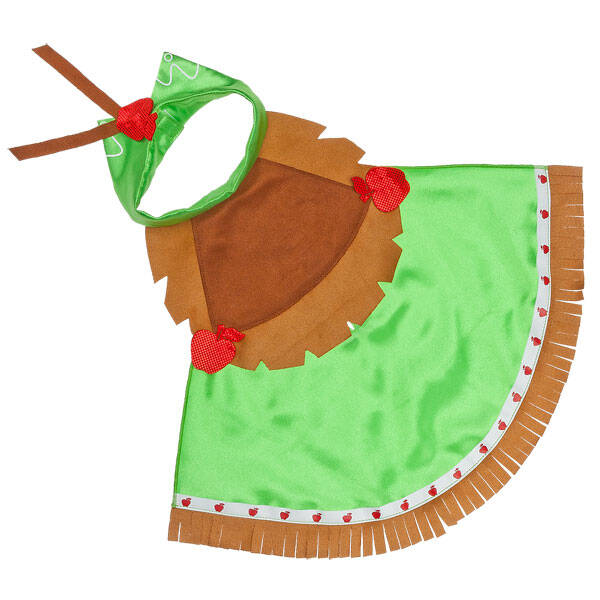 This MY LITTLE PONY APPLEJACK Cape is green with brown fringe and fun apple accents. MY LITTLE PONY and all related characters are trademarks of Hasbro and are used with permission.  2014 Hasbro. All Rights Reserved.