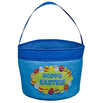 Find eggs in style with this full-sized Easter basket that matches the mini basket for your furry friend! This blue egg basket comes with a fun multicolour egg design.
