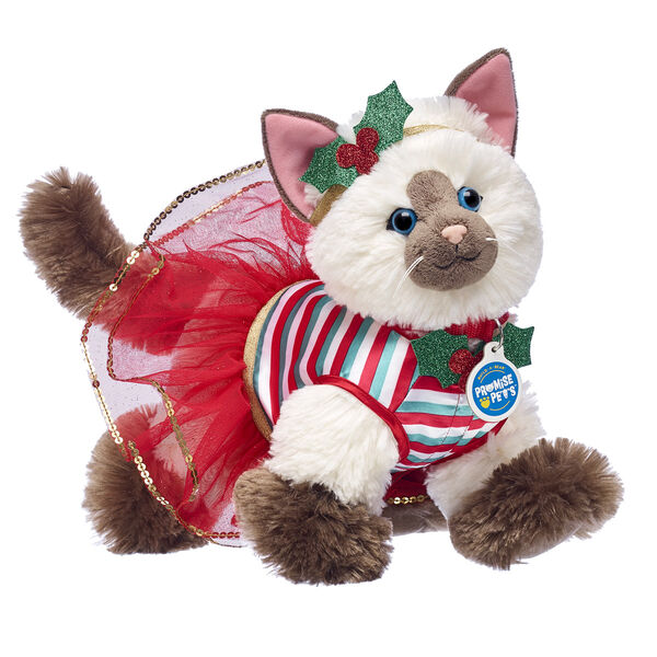 Ragdoll Kitty makes the PURRfect Christmas surprise! This adorable plush kitty stuffed animal gift set features this cheerful cat wearing a very merry outfit with holly decorations. Have a MEOWY Christmas with this cute gift set!