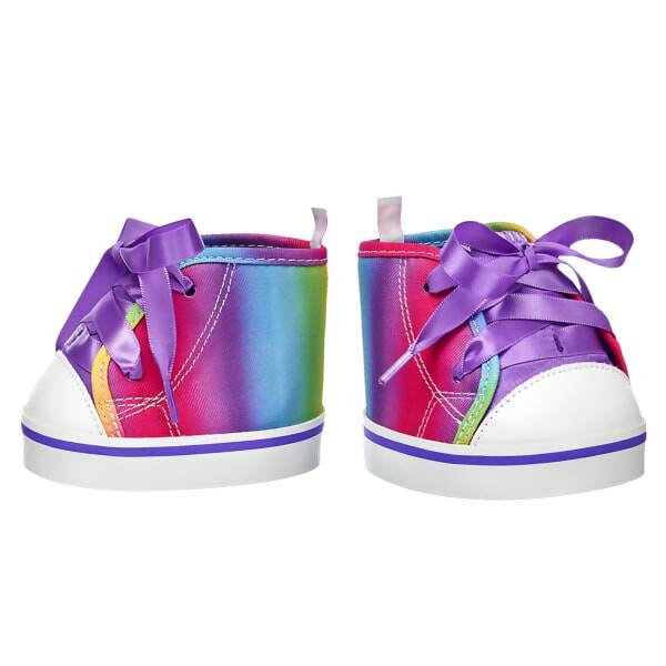 For a colourful look that never goes out of style, dress your furry friend's paws in these adorable high-top shoes. These rainbow shoes have white soles and purple laces to perfectly complete any look!