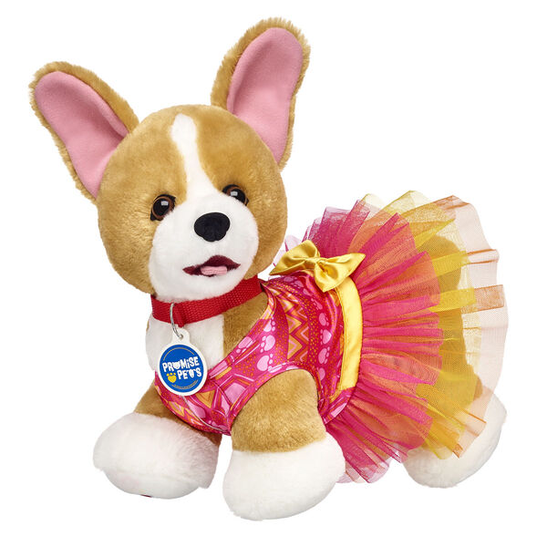 """Aww! What's cuter than a corgi in a dress? This dog stuffed animal gift set features this playful pup in a hot pink look that's PAWfect for hot summer days! <p>Price includes:</p>  <ul>     <li>Promise Pets™ Corgi</li>    <li>Promise Pets™ Hot Pink Paw Print Dress</li> </ul>"""