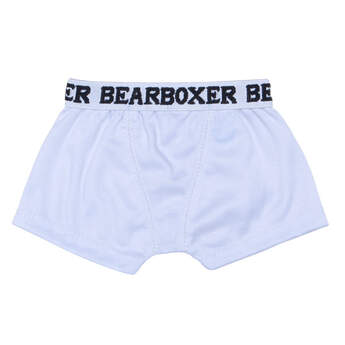 Add this pair of teddy bear size white knit BEARboxers to your stuffed animal's outfit. They are sized pawfectly for your furry friend.