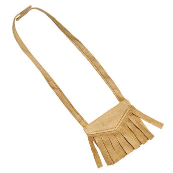 Add this cute Tan Fringe Bag to your furry friend's outfit. This cross body bag is the perfect accessory to any outfit.