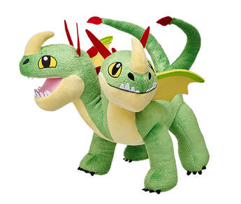 Barf & Belch is a two-headed dragon who's ready for adventure. Two heads calls for 2 trainers, Ruffnut and Tuffnut. Barf & Belch are like their trainers because they have trouble deciding which head goes what direction and focusing on one target. This green and yellow dragon has red spikes going down its necks. Personalise this dragon with outfits to make the perfect unique gift.DREAMWORKS DRAGONS © 2016 DREAMWORKS ANIMATION