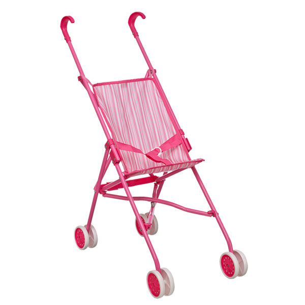 Teddy bear size pink striped stroller is perfect for strolls with furry friends.