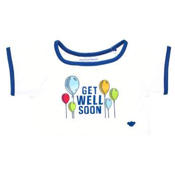 """When someone you love is in need of some big bear hugs, this sweet T-shirt is the perfect choice. This white and blue tee features a """"Get Well Soon"""" message surrounded by colourful balloons. Send good thoughts someone's way by outfitting any furry friend in this cute T-shirt to make the perfect gift!"""