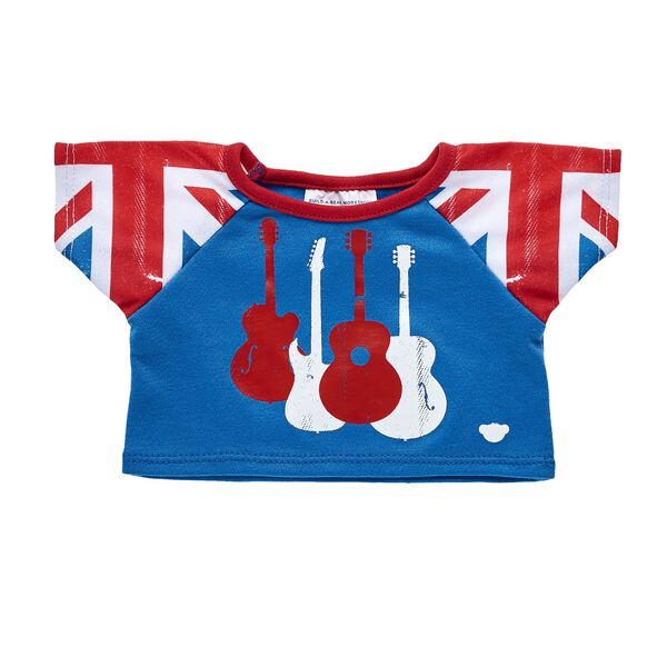 Let's rock 'n' roll! This colourful guitar T-shirt has Union Jack-inspired sleeves for some extra fun!