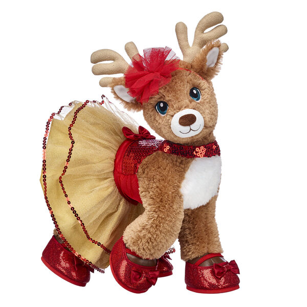 This complete reindeer stuffed animal gift set includes her festive Gold & Red Tulle Dress with a red bow and sequins and matching sparkly red flats.