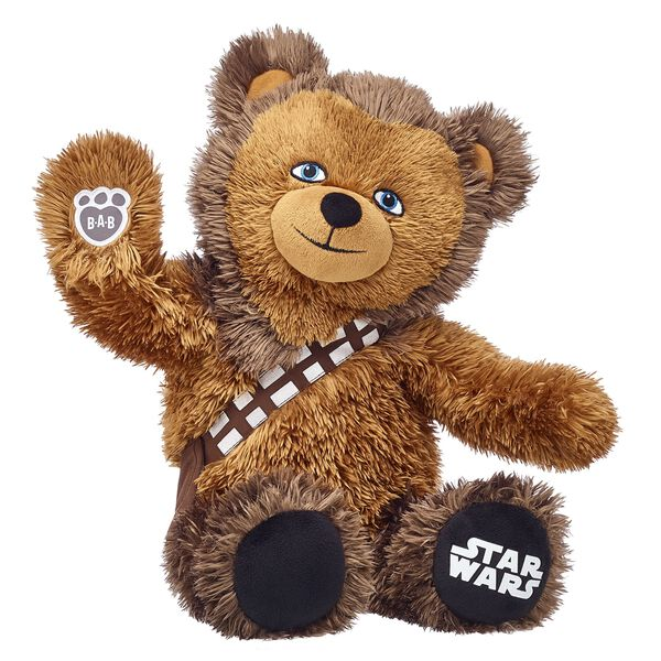 The most loyal Wookiee in the universe is adorable in teddy bear form! With a built-in bandolier and the Star Wars logo on his left paw pad, Chewbacca Bear can be made even more fun by adding Star Wars sounds and accessories! © & ™ Lucasfilm Ltd.