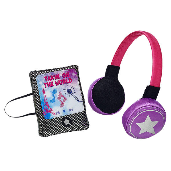 "Add Misha's signature accessory to your Honey Girl. Dance along as you listen to the music with this Honey Girls Headphones & MP3 Player Set. The pink & purple headphones feature the signature Honey Girls star. The toy MP3 player really plays part of the Honey Girls song ""Takin' on the World."""