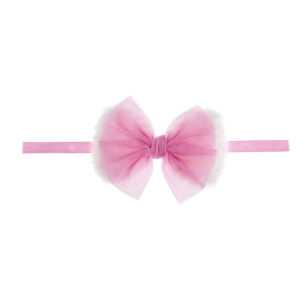 Pink and White Fur Bow, , hi-res