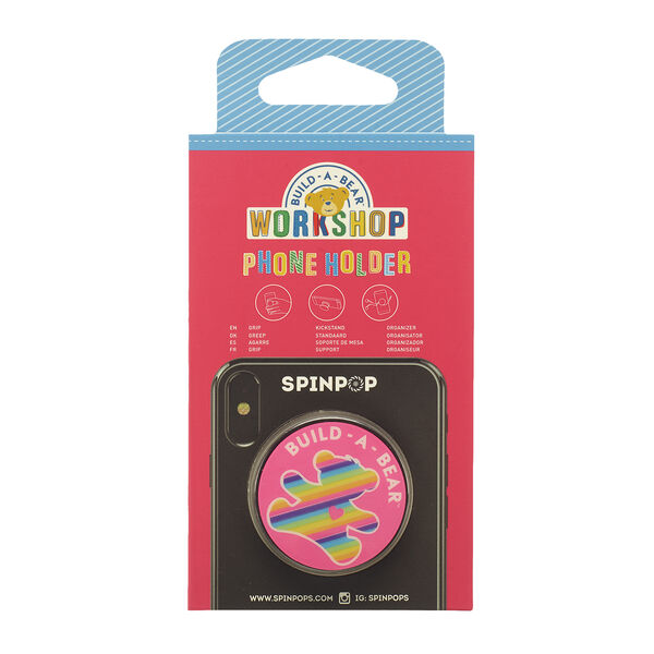 Grip, organise or prop up your mobile phone with this colourful Rainbow Bear phone holder! This cute Spinpop holder lets you spin it, pop it, push it and lock it. It's a BEARY cool phone accessory!