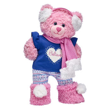 Pink Cuddles Teddy looks PAWsitively pretty in pink this winter! With a festive Believe T-shirt, leggings, boots, scarf and earmuffs, this adorable teddy bear gift set is sure to become a FURever friend to someone special!
