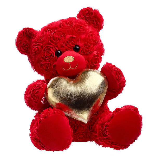 Red Roses Bear with Gold Heart Gift Set, , hi-res