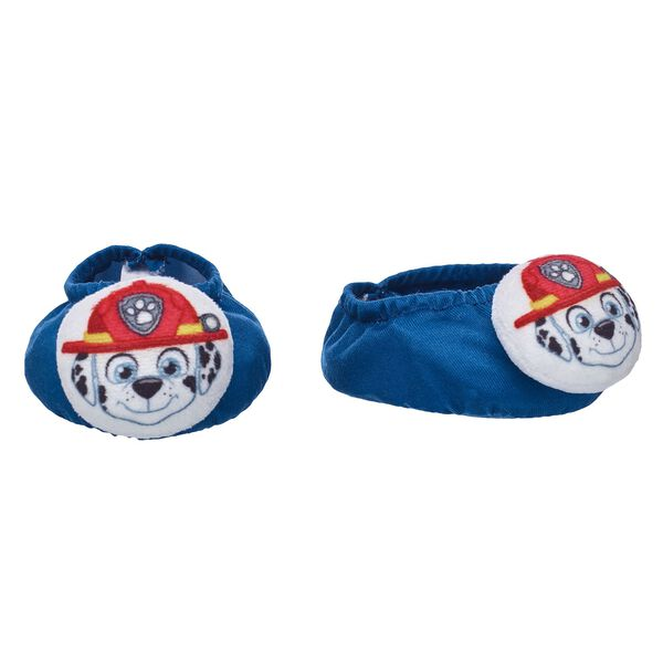 Get ready for bedtime with PAW Patrol's brave firedog Marshall by your furry friend's side! This cute pair of navy blue slippers features Marshall's adorable face. © 2017 Spin Master PAW Productions Inc. All Rights Reserved. PAW Patrol and all related titles, logos and characters are trademarks of Spin Master Ltd. Nickelodeon and all related titles and logos are trademarks of Viacom International Inc.