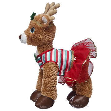 Deck the halls with boughs of holly with this festive reindeer outfit! This two-piece set includes a red and green striped dress with a red tulle skirt portion. Decorative holly embellishments on the dress and bow headband add a cheerful touch!