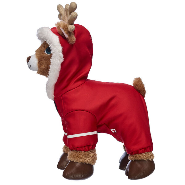 Get your furry friend ready for flying weather with this super cool reindeer snowsuit! This bright red snowsuit is specially designed for four-legged friends and has a white faux fur trim on the hood for extra warmth. It's a must-have for flying this winter!