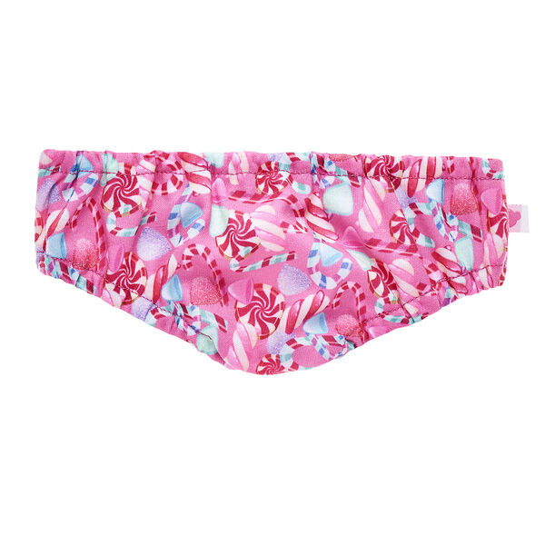 Check out this sweet pair of underpants! This pink pair of undies has a cute pattern of candy canes, sweets and peppermints.