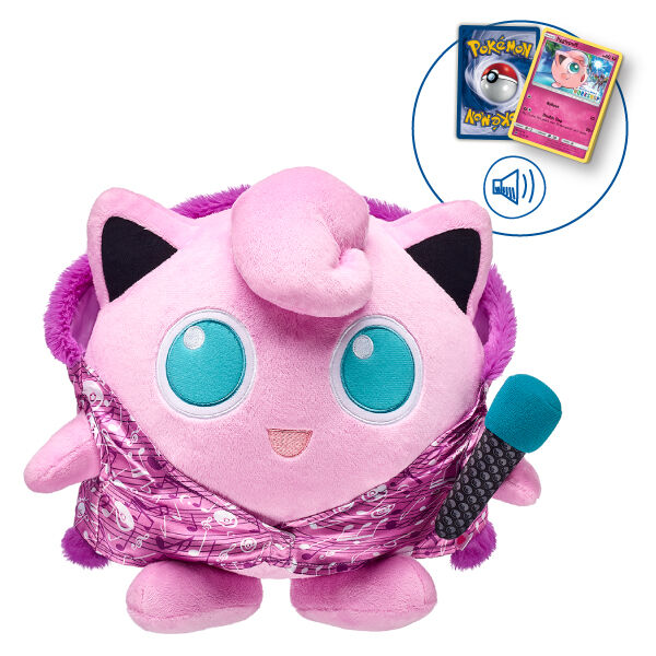Calling all Trainers — add Jigglypuff to your Pokémon team! This round, pink Jigglypuff plush Pokémon toy comes with a FREE Build-A-Bear Workshop Exclusive Pokémon TCG Card! Shop online or visit a store near you!