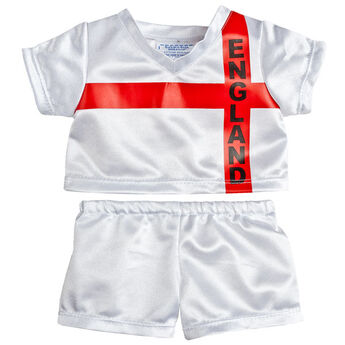 Goal! Teddy bear size England Football Kit includes jersey and shorts.