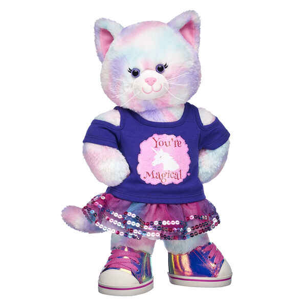 cat stuffed animal with unicorn t shirt and sparkly outfit valentines day gift bundle