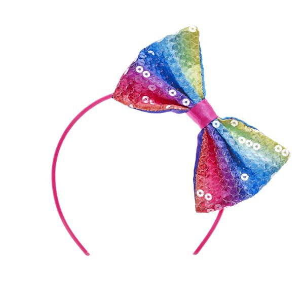Add some sparkly colour to your furry friend's outfit with this rainbow sequin headband! This pink headband has a sequin bow featuring all the colours of the rainbow and provides the perfect amount of dazzle for any of your furry friend's looks.