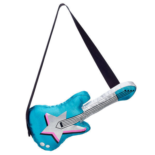 Complete Risa's look with her guitar! This plush guitar is silver and turquoise. Rock out!