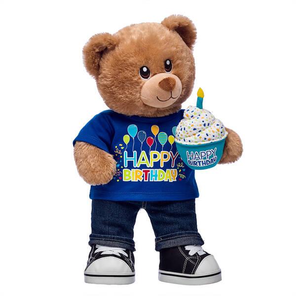 Birthday Treat Bear Blue Cupcake Gift Set Hi Res