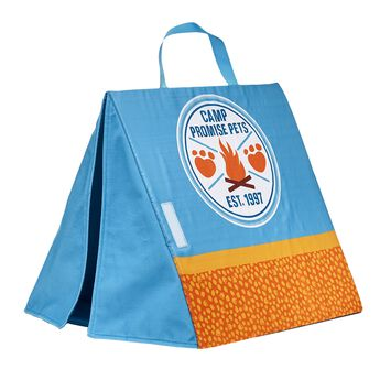 Now you can bring your Promise Pets furry friends camping with you! After you sing songs around the campfire and make yummy s'mores together, your furry friends will love getting to sleep outside in this blue and orange Camp Promise Pets tent. Shop online or visit a store near you!