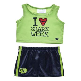 Who doesn't love Shark Week? With this lime green and navy blue tank and short set for stuffed animals, your furry friend can show their Shark Week love all year long! Outfit a furry friend online to make the perfect gift. Free shipping on orders over $45. Shop online or visit a store near you!