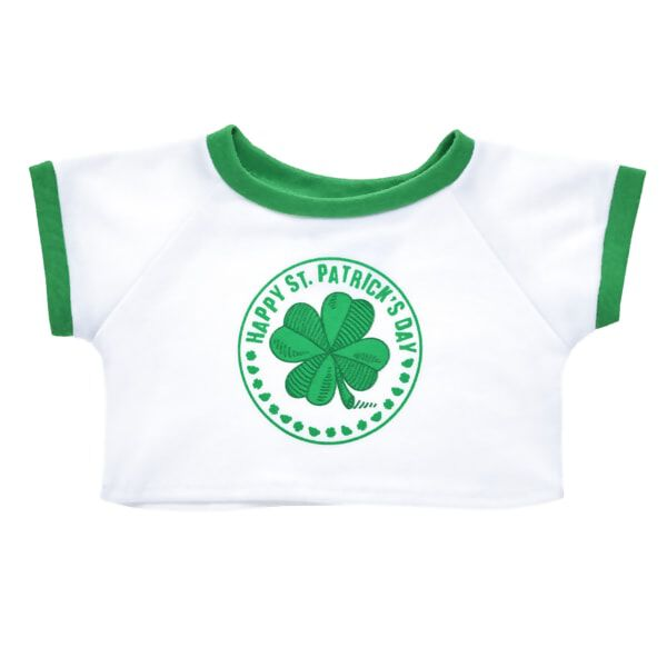 """Your furry friend can have a shamrockin' time this St. Patrick's Day with this festive T-shirt! This fun white and green tee features a four leaf clover on the front with a cheerful """"Happy St. Patrick's Day"""" greeting above it. Dress your furry friend in this lucky T-shirt to make the perfect gift at the rainbow's end!"""