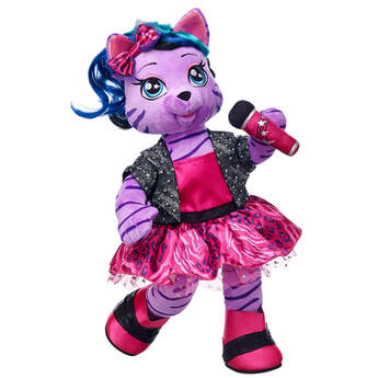 Teegan is the lead singer of the Honey Girls. This Purple Stuffed Tiger is a fearless leader & a bold writer! Teagan from the Honey Girls has purple fur.